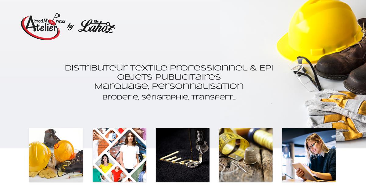 lahoz facebook post site page accueil - Bienvenue Atelier Lahoz Brod N Press vêtements professionnels linge epi équipement de protection individuelle retouches broderie flocage marquage